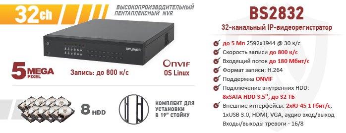 Рекомендуем! BEWARD BS2832 пентаплексный NVR на 32 канала