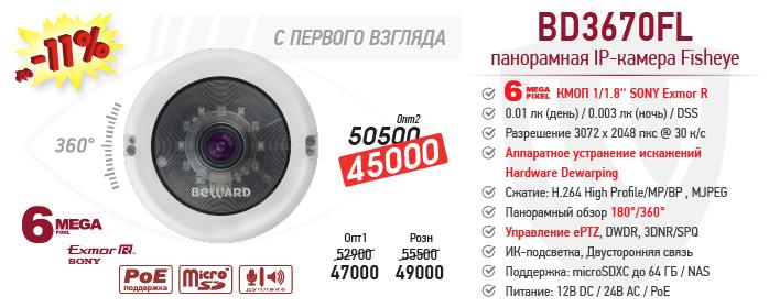 Тотальное снижение цены на 6 Мп Fiseye IP-камеру BD3670FL!